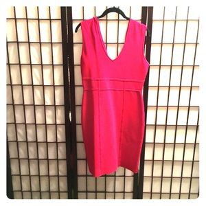 Rio red bandage dress L BCBG plunging neck
